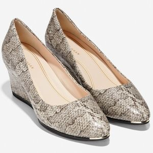Cole Haan Grand Ambition Snake Leather Wedge Pumps